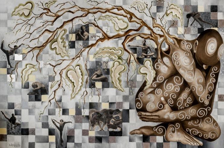 GENÈSE, 2014, huile-collage-aluminium sur toile, 120h x 180cm