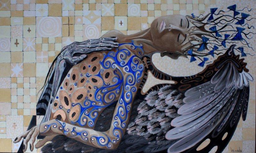 UN ANGE PASSE. 2012, huile-cuivre sur toile, 90h x 120 cm