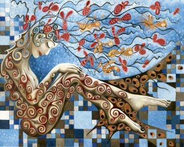 JARDIN D'EAU, 2012, huile-cuivre sur toile, 120 x 150 cm
