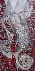 UNE FEMME À LA MER, 2011, huile- aluminium sur toile, 180h x 90 cm