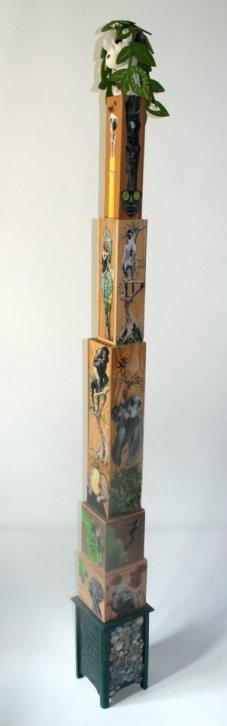 TUTEUR, 217 x 21 x 21 cm, grès-oxydes-feutre-collage sur bois-acrylique