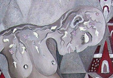 1-6-1-UNE FEMME À LA MER, 2011, huile et aluminium sur toile montée, 180h x 90 cm, $2400-001