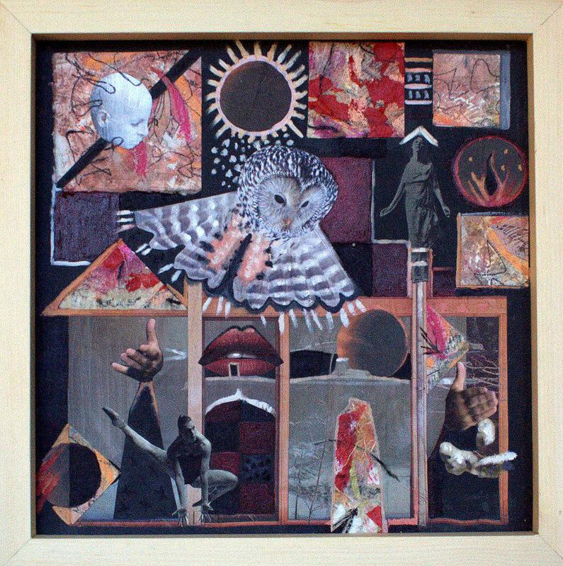 COLLAGE IV  35 x 35 cm  huile et collage sur carton