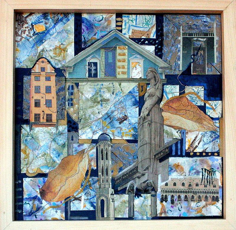 COLLAGE V  35x35cm  huile et collage sur carton