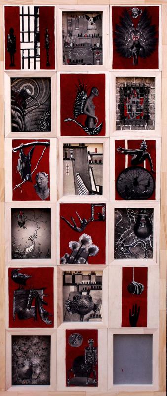 RÉBUS jeu de l'esprit  4x 150x60cm  acrylique et collage sur daim rouge