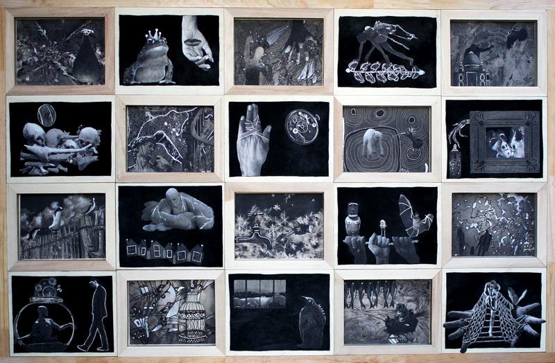 CONTES D'HIVER 86Hx130cm  acrylique et collage sur daim noir