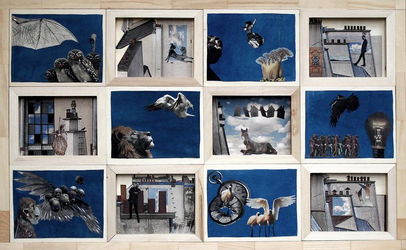 BLEU COMME...le ciel  66Hx166cm  acrylique et collage sur daim bleu