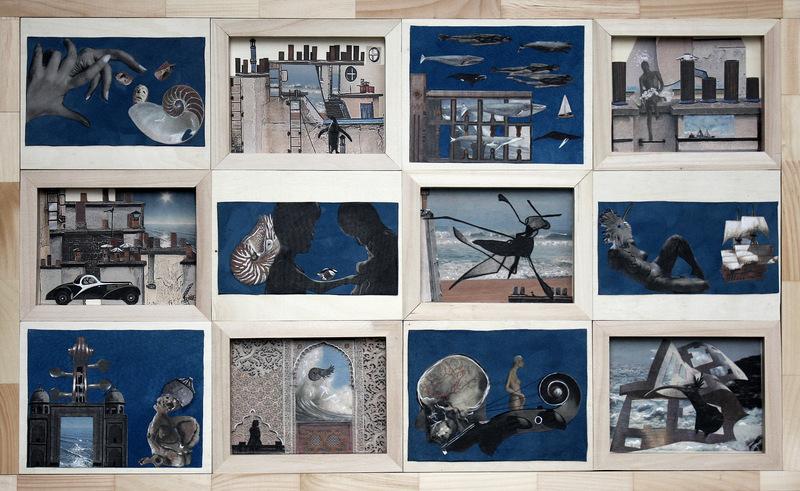 BLEU COMME...la mer  66Hx166cm  acrylique et collage sur daim bleu