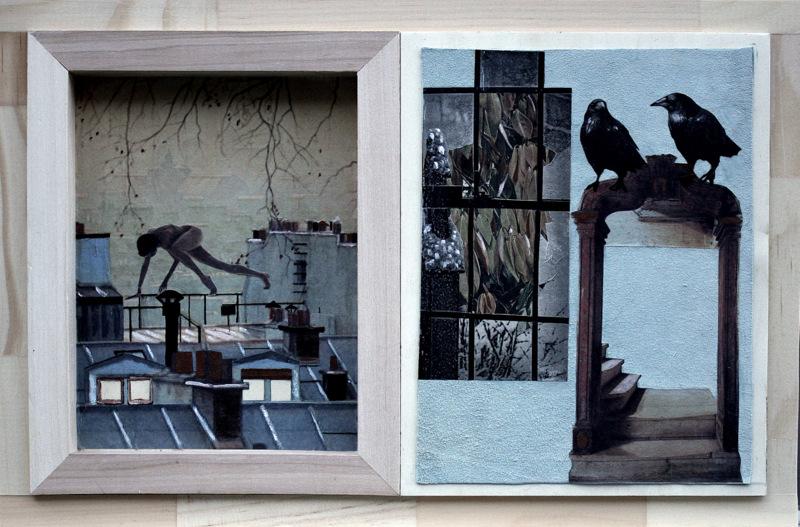 SUR UN NUAGE  29Hx45cm  acrylique et collage sur daim bleu